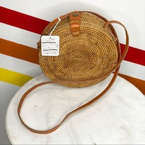 NEW Free People circle wicker crossbody bag